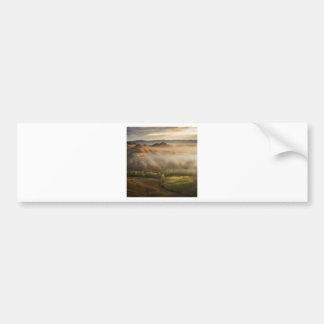 Tuscany fields in foggy sunrise bumper stickers