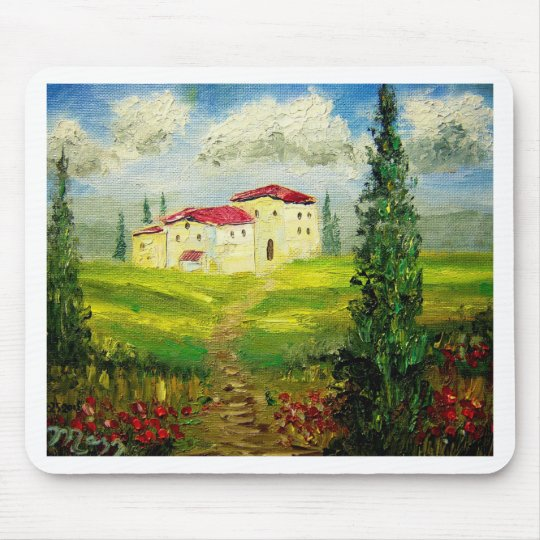 Tuscany Hillside Painting Mouse Pad