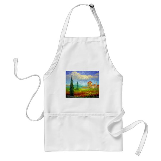 Tuscany HIlside with Poppies Adult Apron