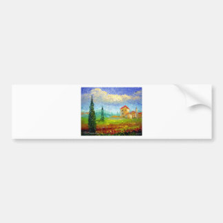 Tuscany HIlside with Poppies Bumper Sticker