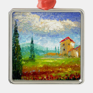 Tuscany HIlside with Poppies Metal Ornament