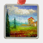 Tuscany HIlside with Poppies Ornaments