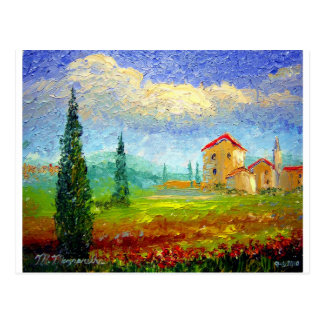 Tuscany HIlside with Poppies Postcard