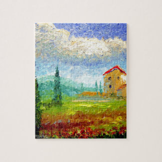 Tuscany HIlside with Poppies Puzzles
