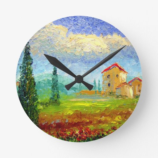 Tuscany HIlside with Poppies Round Wall Clock