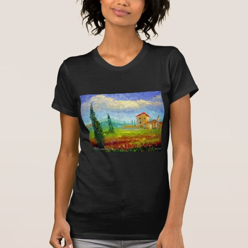 Tuscany HIlside with Poppies T Shirt