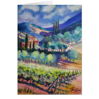 Tuscany in Blues ~ Watercolor Greeting Card