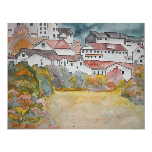 Tuscany Italy landscape watercolor painting 4.25x5.5 Paper Invitation Card