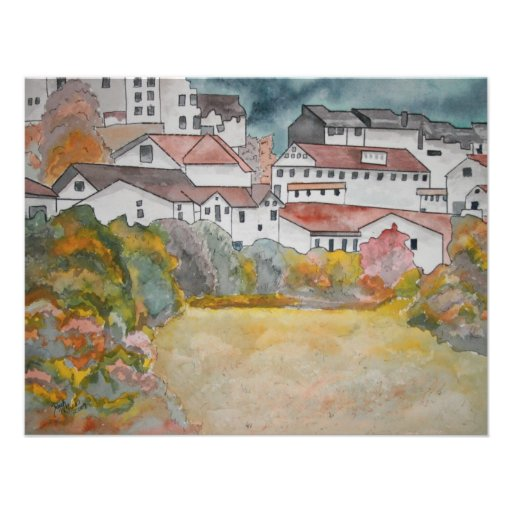 Tuscany Italy landscape watercolor painting Personalized Invite
