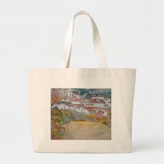 Tuscany Italy landscape watercolor painting Large Tote Bag