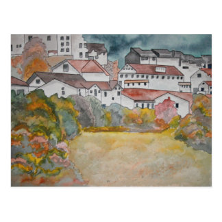 Tuscany Italy landscape watercolor painting Postcard