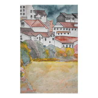 Tuscany Italy landscape watercolor painting Stationery