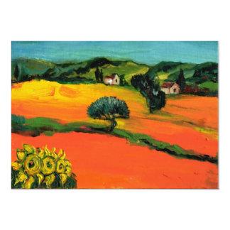 TUSCANY LANDSCAPE , blue green yellow orange Custom Invite