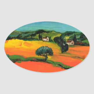 TUSCANY LANDSCAPE OVAL STICKER