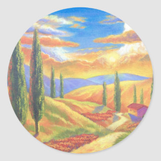 Tuscany Landscape Painting - Multi Classic Round Sticker