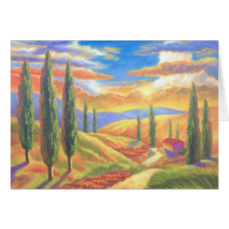 Tuscany Landscape Painting - Multi Greeting Card