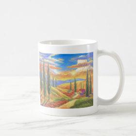 Tuscany Landscape Painting - Multi Classic White Coffee Mug