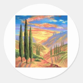 Tuscany Landscape Painting - Multi Sticker