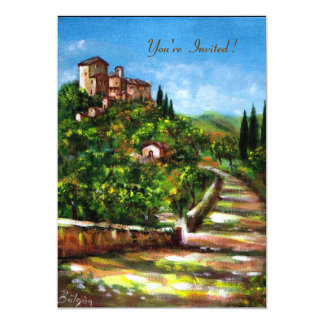 TUSCANY LANDSCAPE, red green yellow gold sparkles Custom Invites