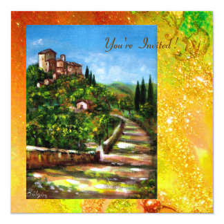 TUSCANY LANDSCAPE, red green yellow gold sparkles Invites