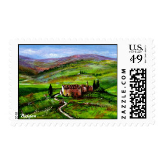 TUSCANY LANDSCAPE WITH GREEN HILLS POSTAGE