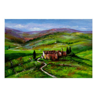 TUSCANY LANDSCAPE WITH GREEN HILLS POSTER