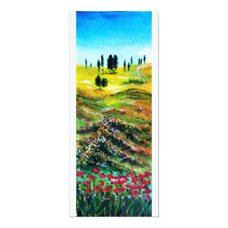 TUSCANY LANDSCAPE WITH POPPIES ,white Card