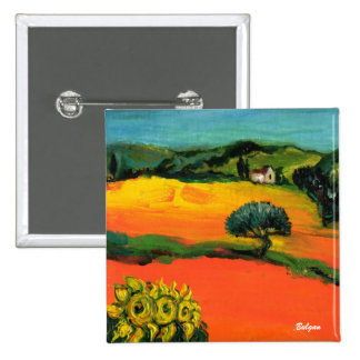 TUSCANY LANDSCAPE WITH SUNFLOWERS BUTTON