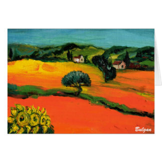 TUSCANY LANDSCAPE WITH SUNFLOWERS CARD