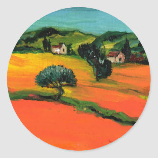 TUSCANY LANDSCAPE WITH SUNFLOWERS CLASSIC ROUND STICKER