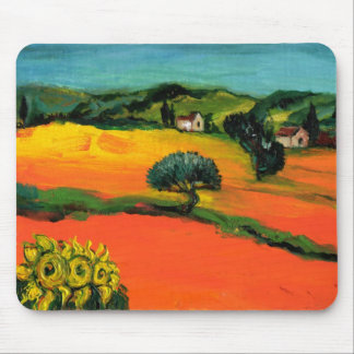 TUSCANY LANDSCAPE WITH SUNFLOWERS MOUSE PAD