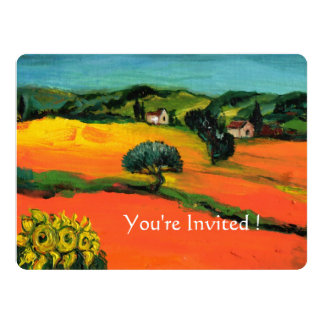 TUSCANY LANDSCAPE WITH SUNFLOWERS orange  black 6.5x8.75 Paper Invitation Card