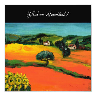 TUSCANY LANDSCAPE WITH SUNFLOWERS orange  black Card