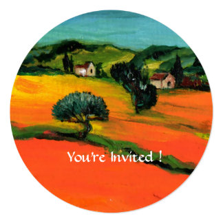 TUSCANY LANDSCAPE WITH SUNFLOWERS orange  black 5.25x5.25 Square Paper Invitation Card