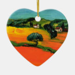 TUSCANY LANDSCAPE WITH SUNFLOWERS Double-Sided HEART CERAMIC CHRISTMAS ORNAMENT