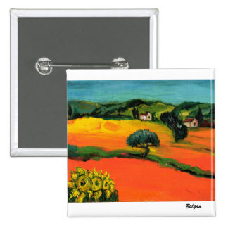 TUSCANY LANDSCAPE WITH SUNFLOWERS PINBACK BUTTON