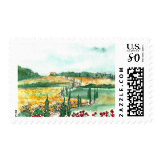 Tuscany Landscape with Sunflowers & Poppies Postage