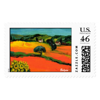 TUSCANY LANDSCAPE WITH SUNFLOWERS POSTAGE