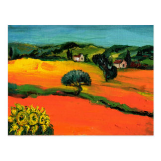 TUSCANY LANDSCAPE WITH SUNFLOWERS POSTCARD