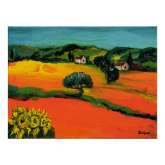 TUSCANY LANDSCAPE WITH SUNFLOWERS POSTER