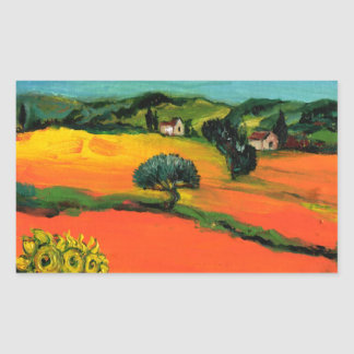 TUSCANY LANDSCAPE WITH SUNFLOWERS RECTANGULAR STICKER