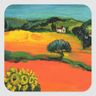 TUSCANY LANDSCAPE WITH SUNFLOWERS SQUARE STICKER