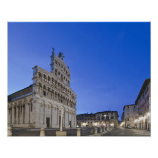 Tuscany, Lucca, Piazza San Michele at Dawn Poster