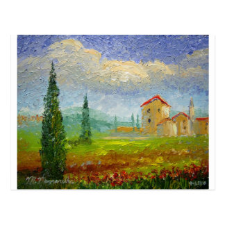 Tuscany Oil Painting Postcard