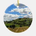Tuscany, panoramic landscape - Italy Double-Sided Ceramic Round Christmas Ornament