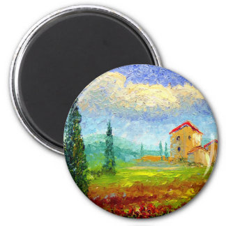 Tuscany Poppies 2 Inch Round Magnet