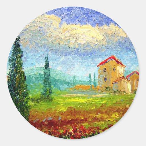 Tuscany Poppies Round Stickers