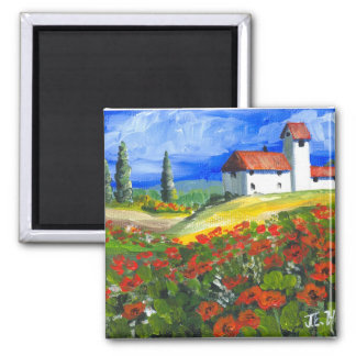 Tuscany Red Poppies 2 Inch Square Magnet