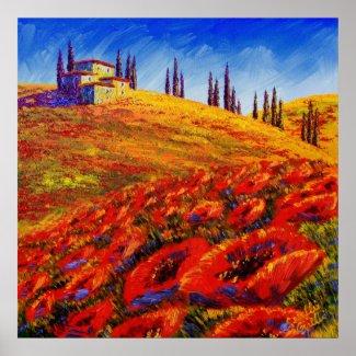 Tuscany Rolling Poppy Hills print