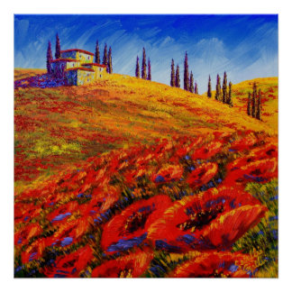 Tuscany Rolling Poppy Hills Poster